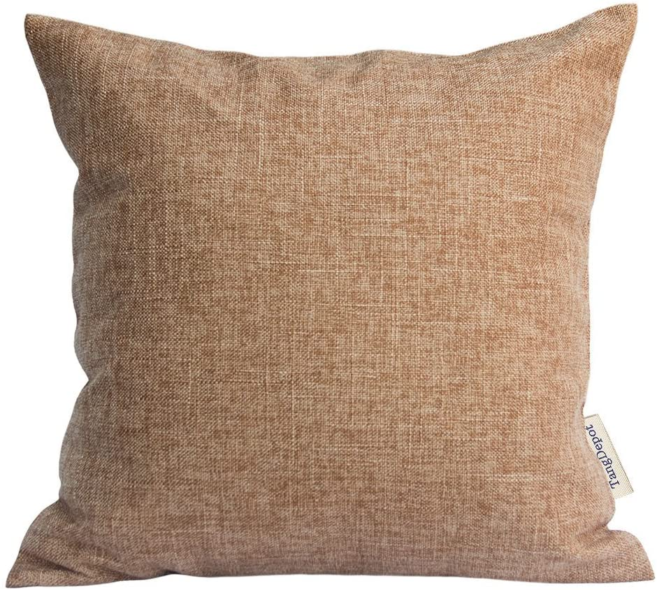 TangDepot Heavy Lined Linen Cushion Cover, Throw Pillow Cover, Square Decorative Pillow Covers, Indoor/Outdoor Pillows Shells - (18