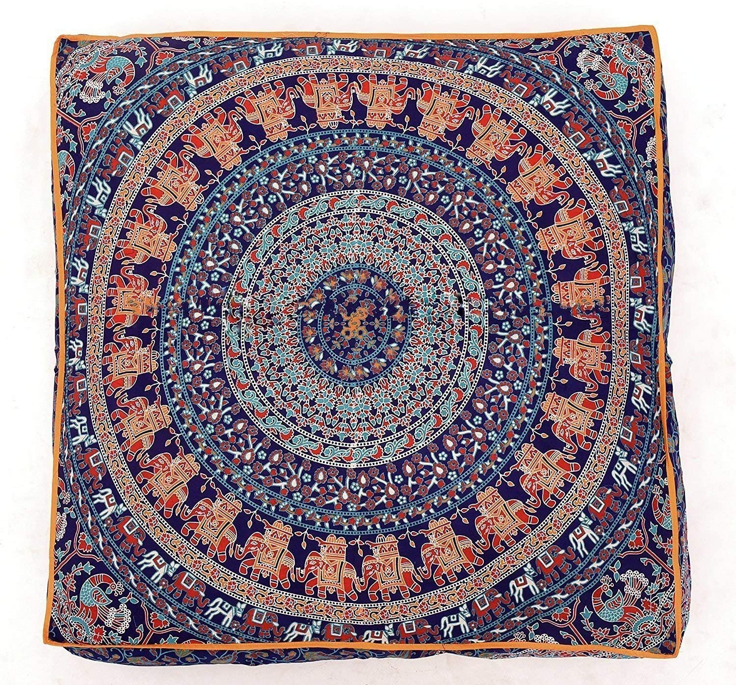 Traditional Jaipur Square Mandala Floor Cushion Decorative Throw Pillowcase 35 x 35 inches Pouf Boho Ottoma Pom Pom Outdoor Cushion Cover Pillow Sham Pet Bed: Only Cover