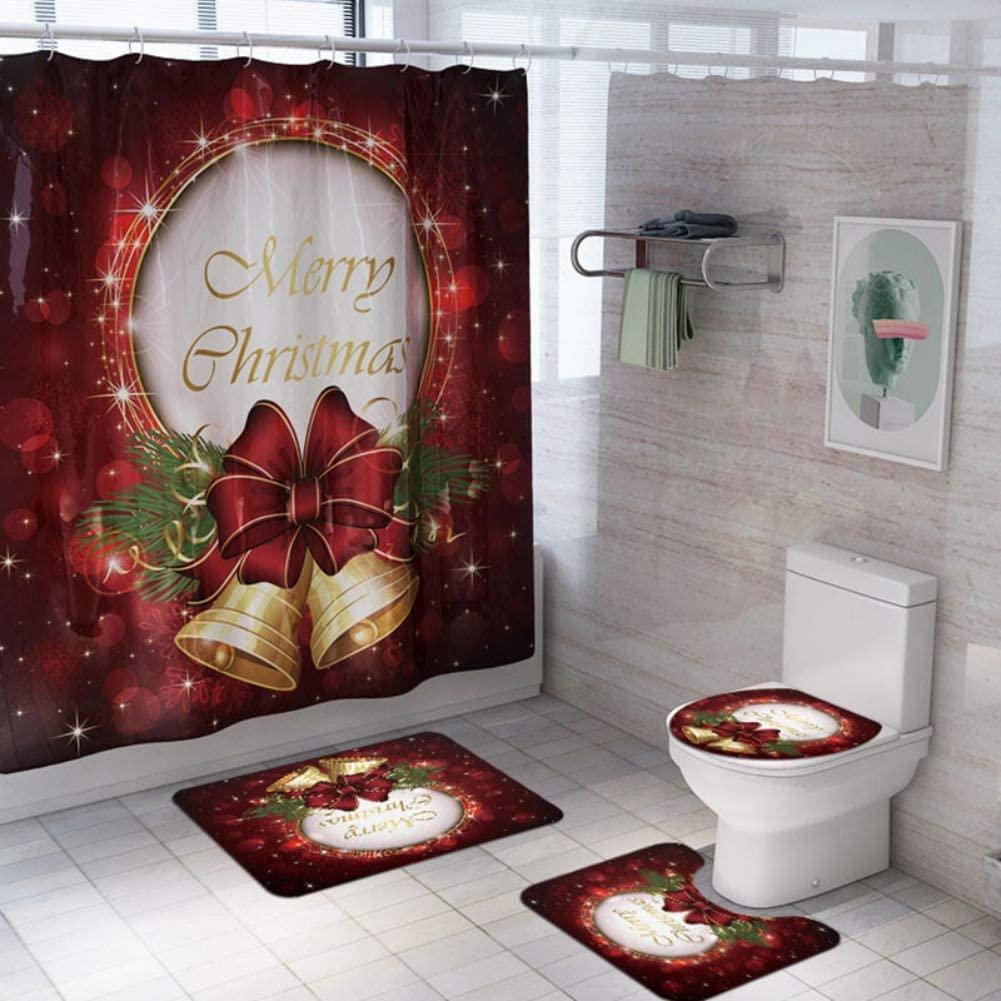 Pretty Comy Christmas Shower Curtain Set Christmas Bathroom Decorations Set 4 Pcs Santa Claus Snowman Xmas Shower Curtain Toilet Seat Cover Rugs Bathroom Decor