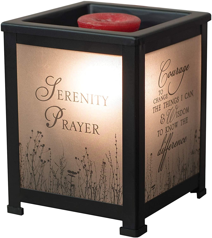 Elanze Designs Serenity Prayer God Grant Me Courage Black Metal Electrical Wax Tart & Oil Glass Lantern Warmer