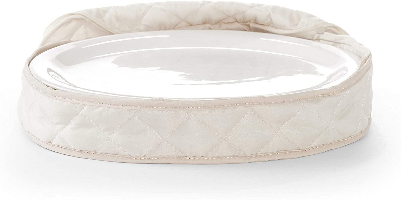 Covermates Keepsakes - Small Oval Platter Storage – Padded Protection - ID Window - Dish Storage - Cream