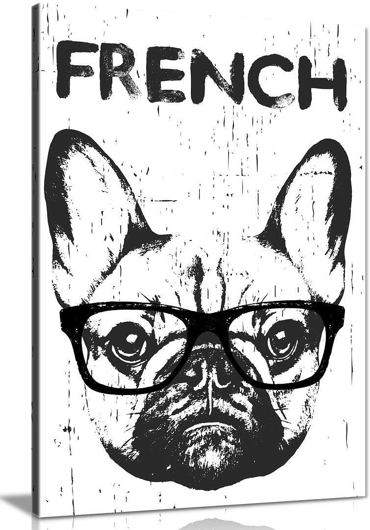French Bull Dog White Canvas Wall Art Picture Print Home Decor (12x8in)
