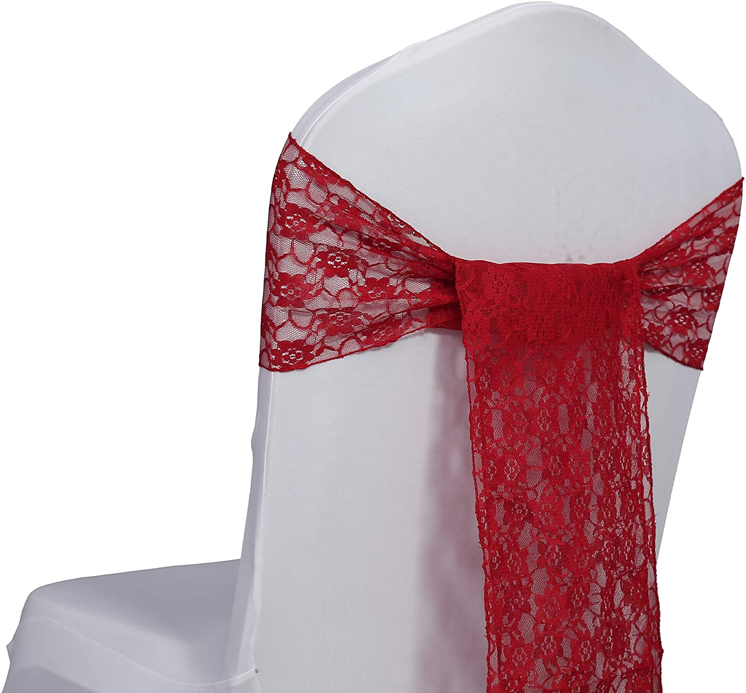 mds Pack of 100 Lace Chair Bow Sashes sash for Wedding or Events Party Supplies Chair lace sash - Apple red