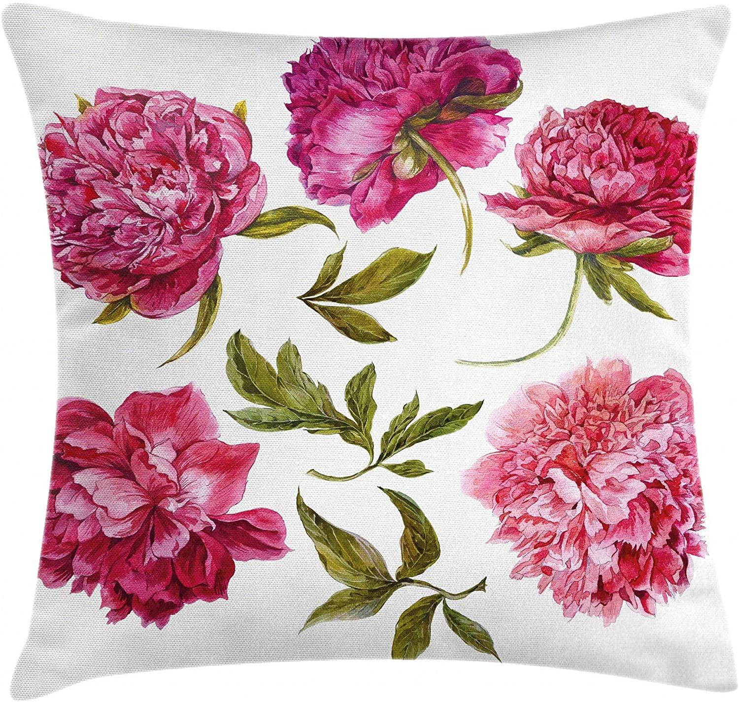 Ambesonne Floral Throw Pillow Cushion Cover, Spring Buds in Vivid Tones Watercolor Peony Bouquet Artwork, Decorative Square Accent Pillow Case, 24 X 24, Olive Green