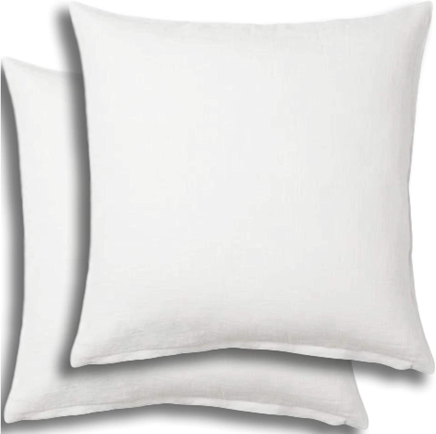 Set of 2 - Pillow Insert 18x18 Decorative Throw Pillow Inserts - Euro Sham Stuffer for Sofa Bed Couch Square White Form 2 Pack - Hypoallergenic Machine Washable and Dry Polyester - Made in USA