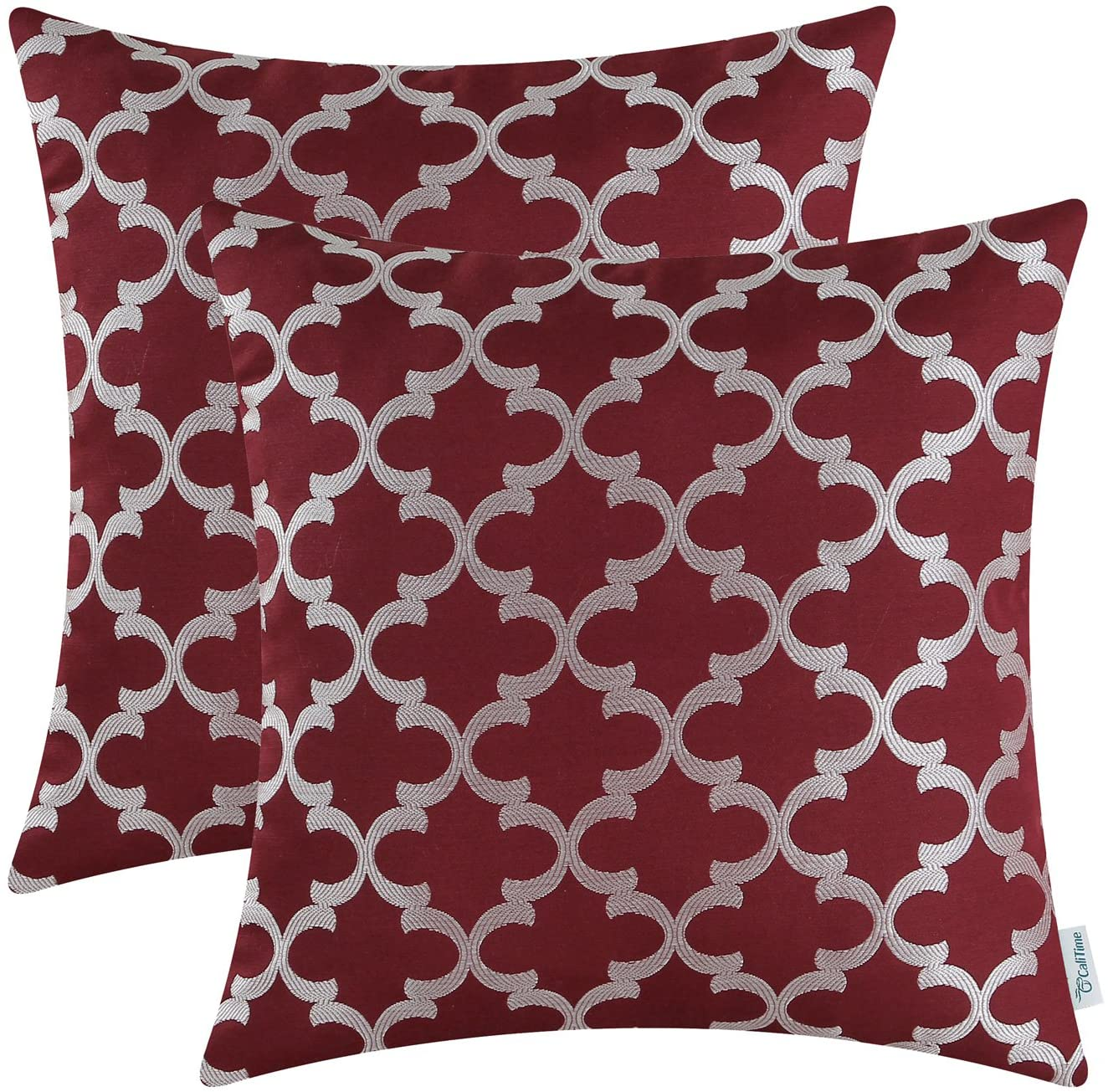 CaliTime Pack of 2 Soft Throw Pillow Covers Cases for Couch Sofa Home Decoration Modern Quatrefoil Trellis Geometric 18 X 18 Inches Burgundy