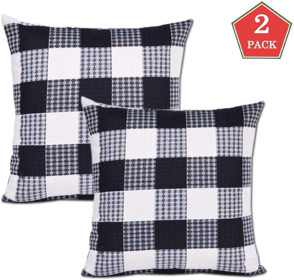 SUNWISHA Buffalo Check Plaid Cotton Linen Throw Pillow Case Home Office Car Decor Daily Decorations Sofa