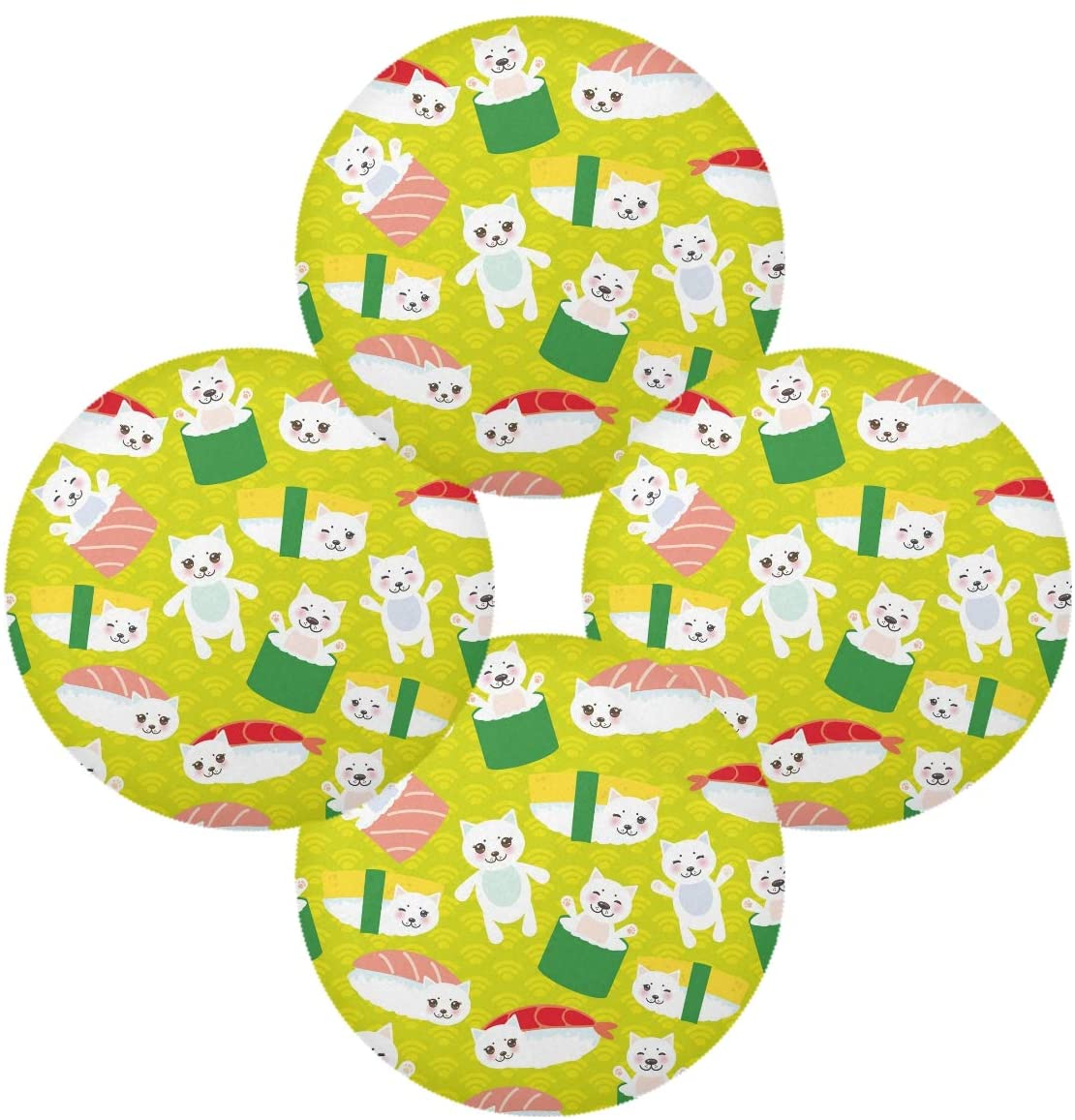 Bardic Naivey Animal Cat Sushi Pattern Round Placemats Set of 6 Heat Resistant Non-Slip Dining Table Mats for Kichen Dining Table Decor