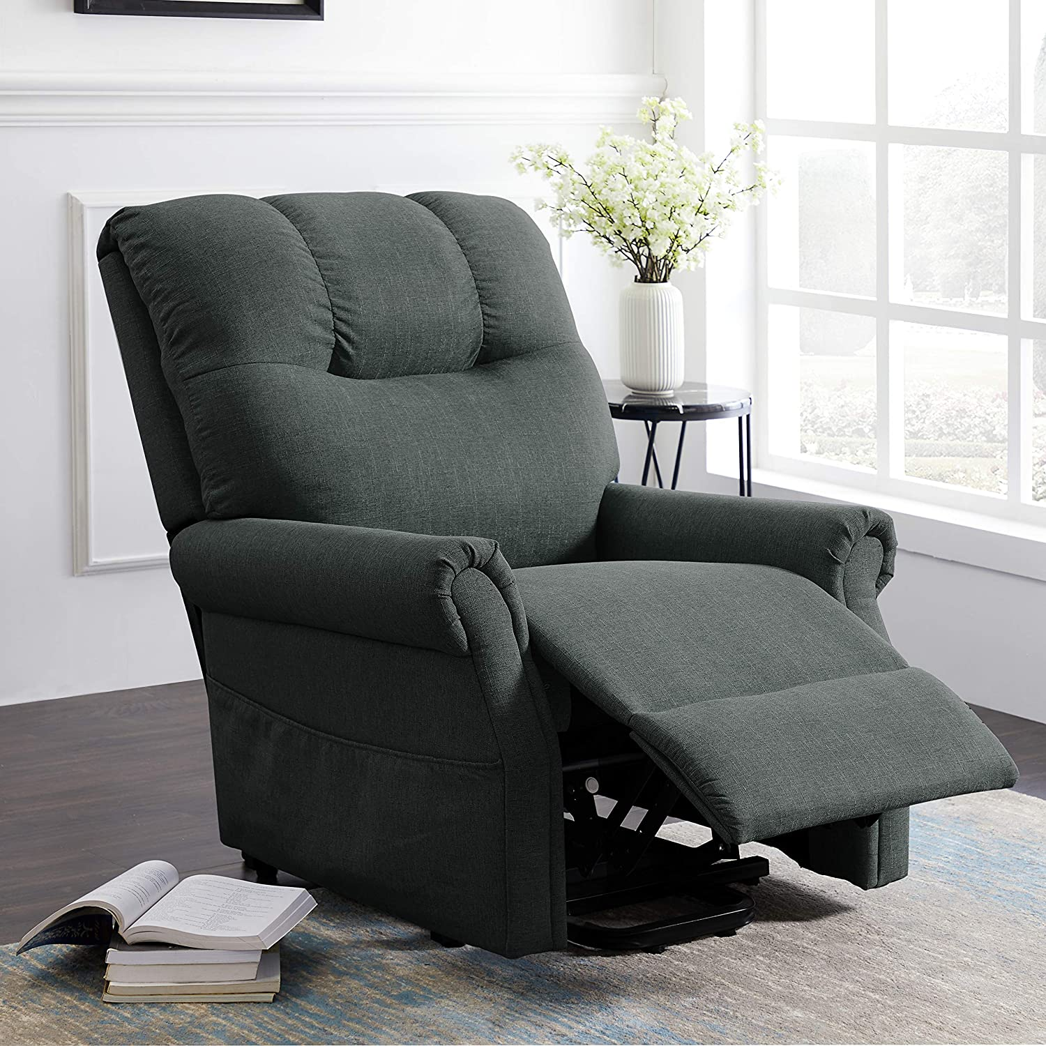 Electric Power Lift Recliner Chair Sofa with Massage and Heat for Elderly, Premium Thickened Fabric Recliner Chair with Side Pockets, Green