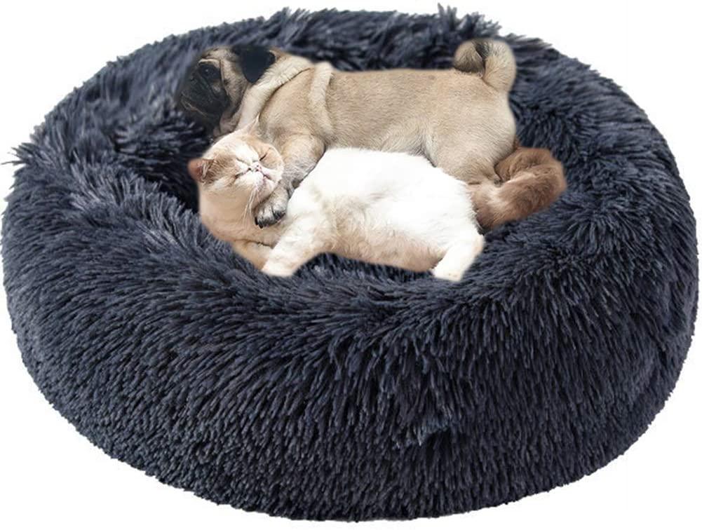Huret Long Plush Calming Dog Bed for Small/Medium Dogs, Cozy Fur Self-Warming Cat Cushion Pet Beds