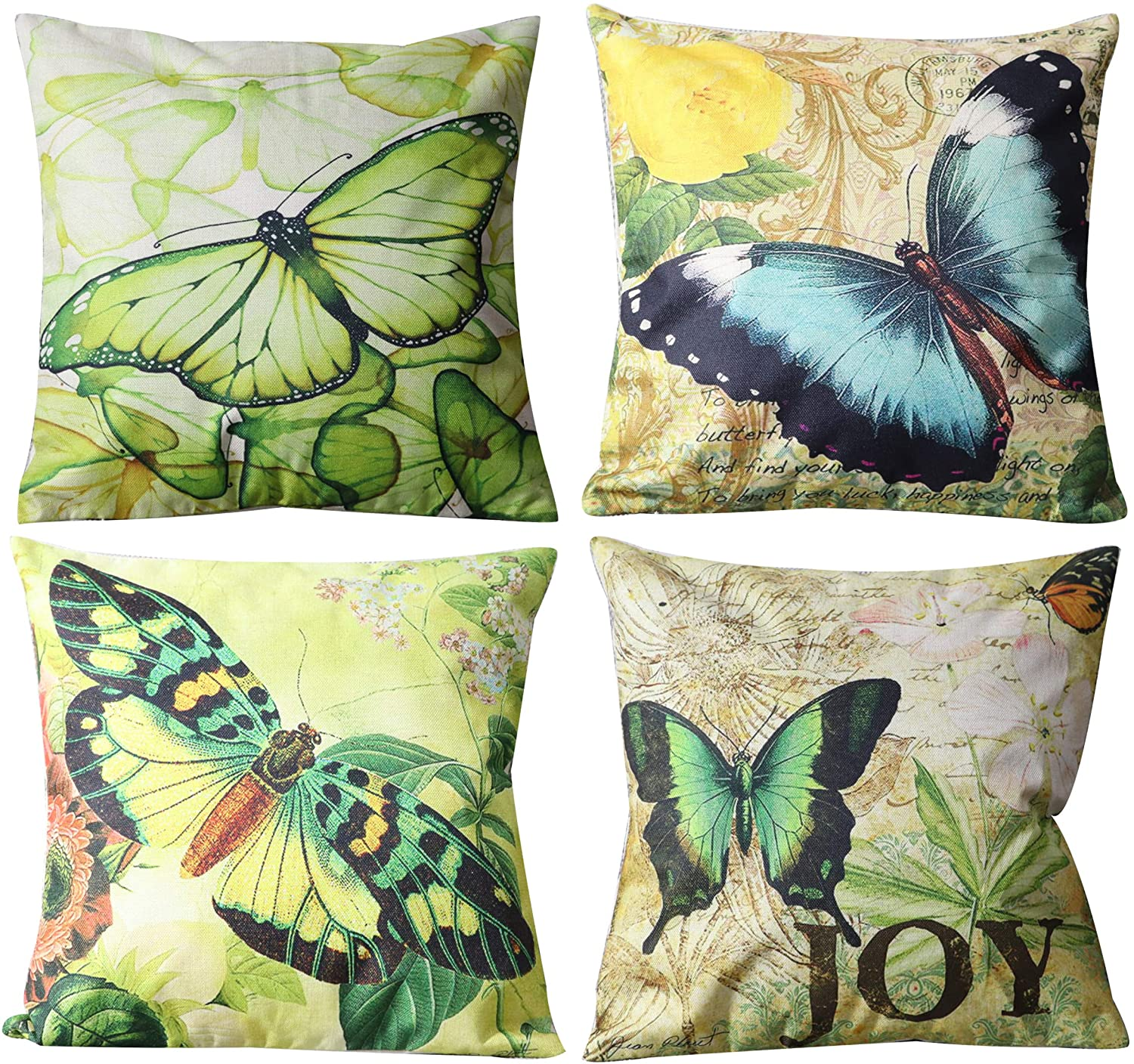UnionKK 4 PCS Sofa Decorative Throw Pillow Cover Butterfly Print Decor Square Cushion Covers Linen Outdoor Balcony Pillows Case for Sofa Bed Chair 18x18 Inch (Butterfly)