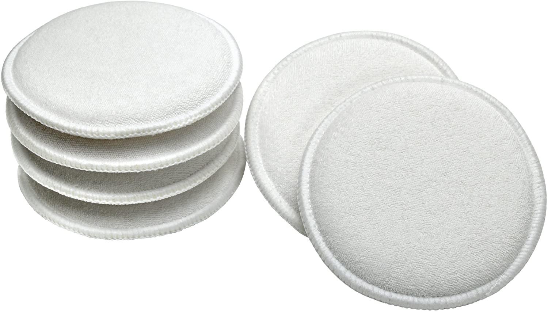 VIKING 986017 Cotton Terry Wax Applicator Pads - 5 Inch Diameter, White, 6 Pack