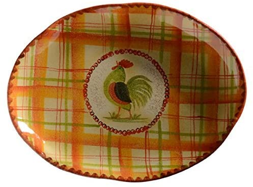 Rooster Oval Platter Italian Dinnerware - Oval Platter - Handmade in Italy from our Il Canto del Sol Collection