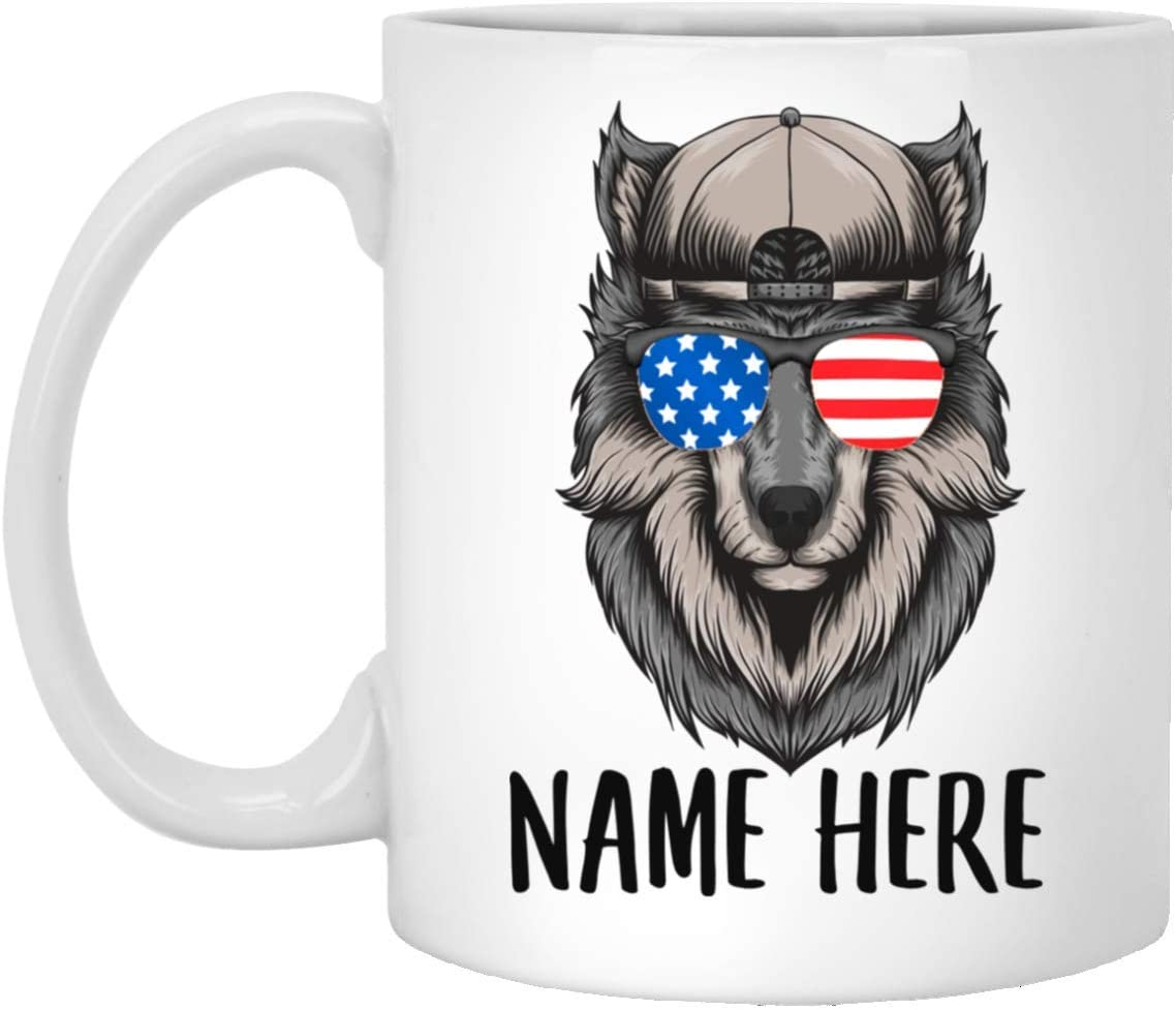 Personalized Name Wolf 1 With American Flag Sunglasses White Coffee Mug 11oz