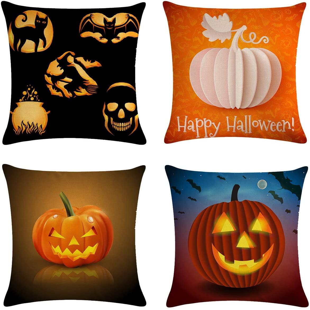 XIECCX Throw Pillow Covers 18x18 Set of 4 - Autumn Home Decorative Pillows Pumpkin Bat for Couch Sofa Bed Breathable Linen with Hidden Zipper(Halloween Pumpkin)