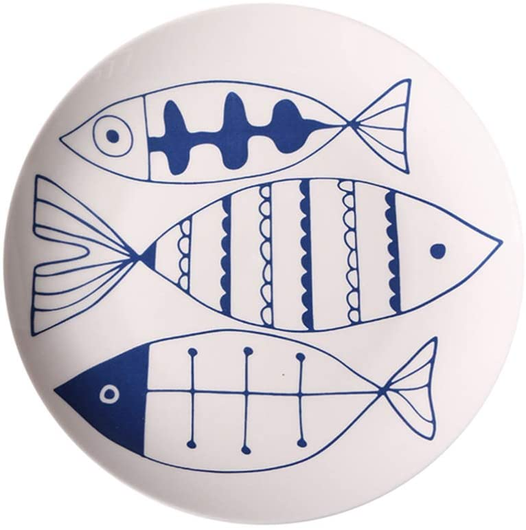 Yarnow 8-inch Ceramic Serving Plate Porcelain Round Platter Dessert Salad Tray Dinner Dish Bowl for Tabletop Home Restaurant (Three Fishes)