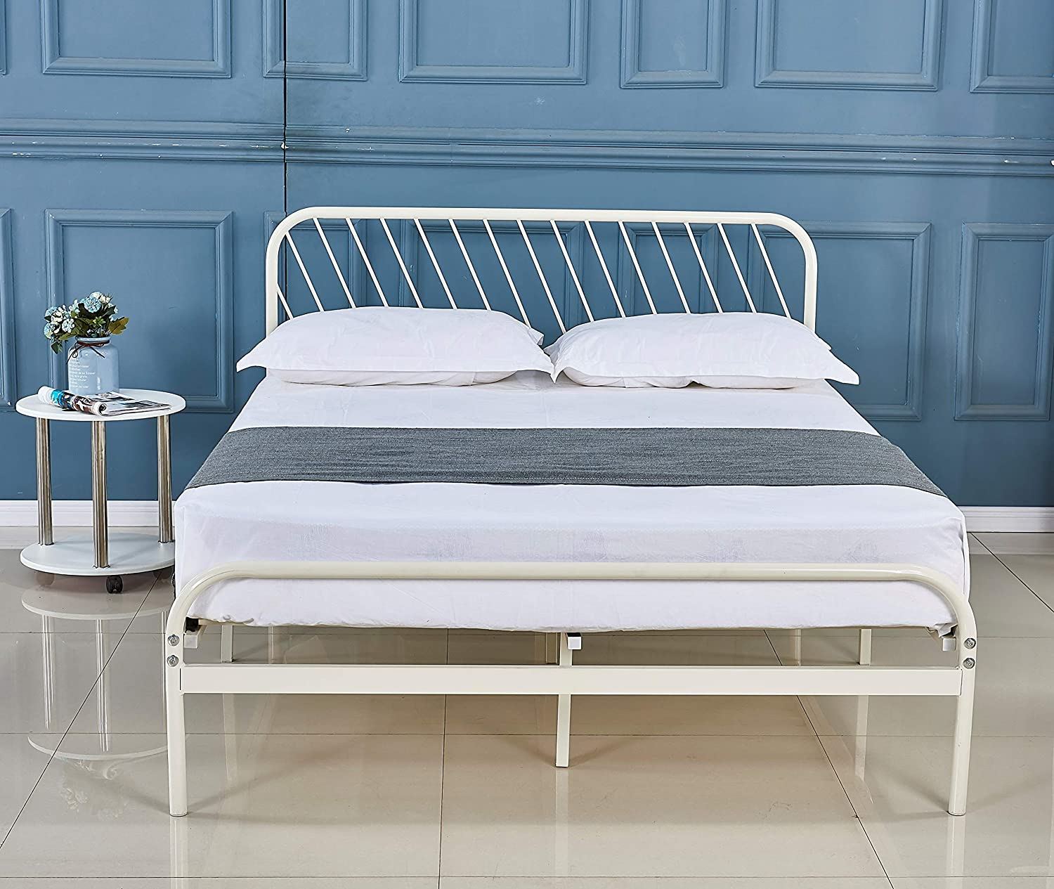 Alooter Queen Bed Frame, White Platform Metal Bed Frame Foundation Queen Size with Headboard and Footboard (DS-11 Queen)…