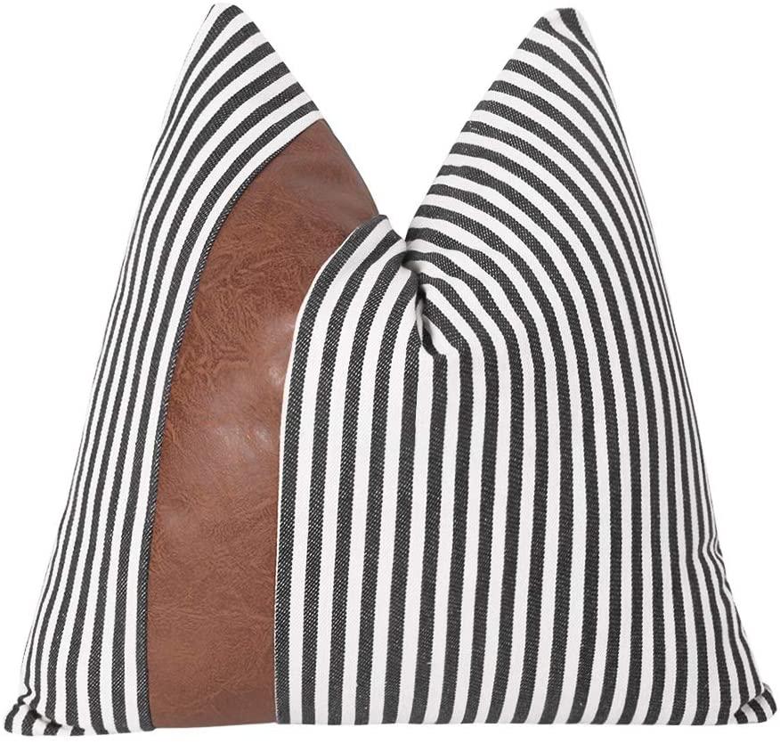 JASEN Black Ticking Stripe Decor Pillow Cover with Faux Leather Farmhouse Throw Accent Throw Cushion Covers Decor Pillowcase 18 x 18 Inch