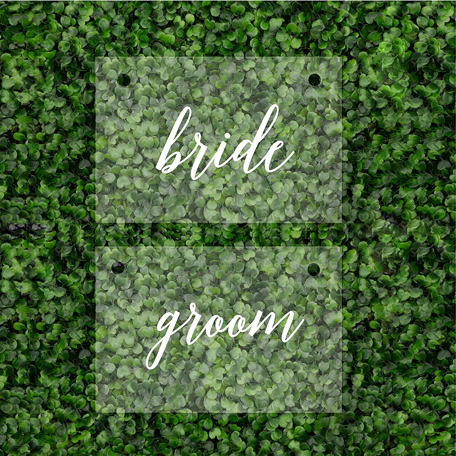 Andaz Press Bride Groom Acrylic Chair Signs, 7.5 x 11 Inch, Set of 2 Scripted White Font Rectangular Chair Back Signs for Wedding Reception, Sweetheart Table, Bridal Shower, Signage, Backdrop