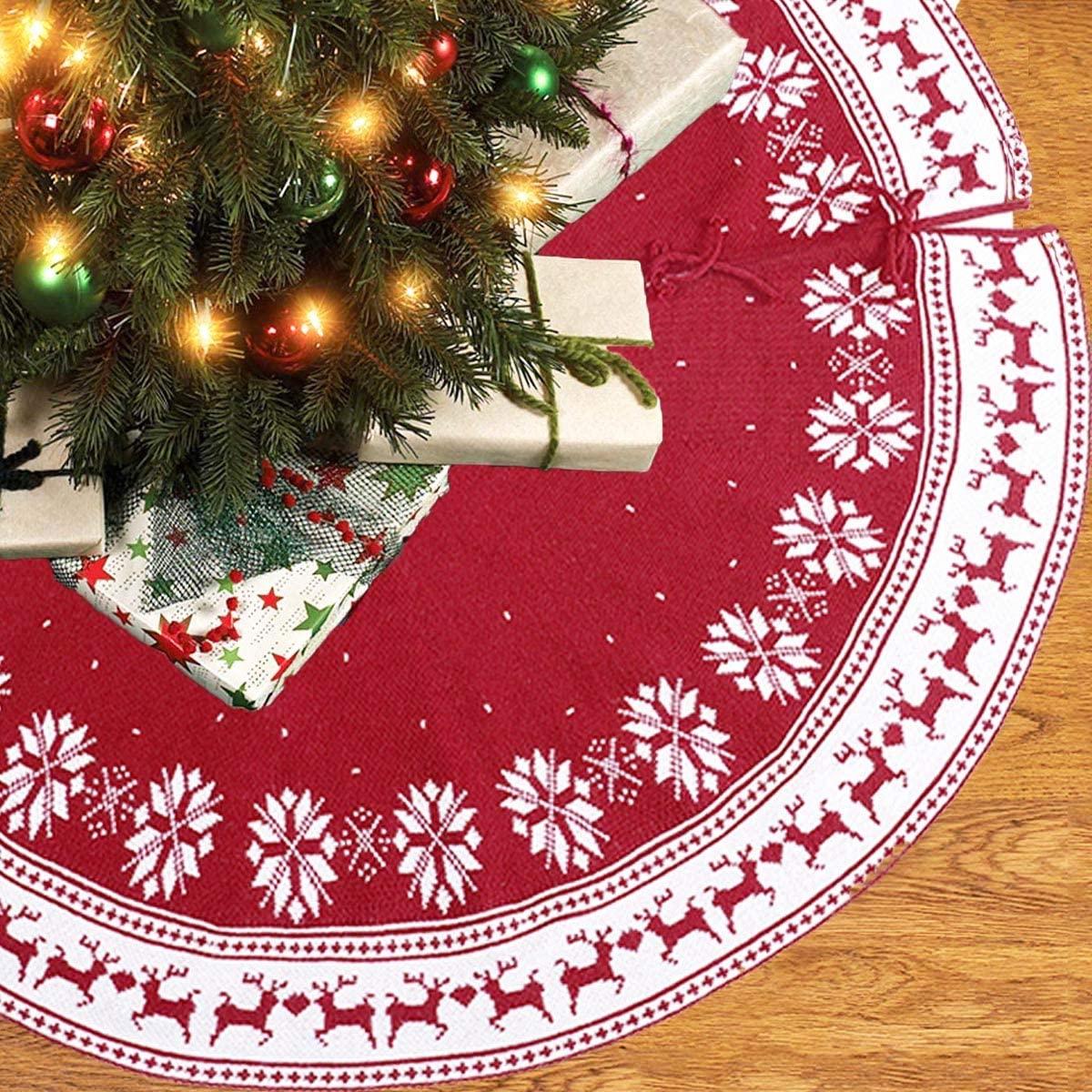 AMAZAC Christmas Tree Skirt in Red/White Snowflake Reindeer Design for Christmas Trees Christmas Decorations Indoor, 48