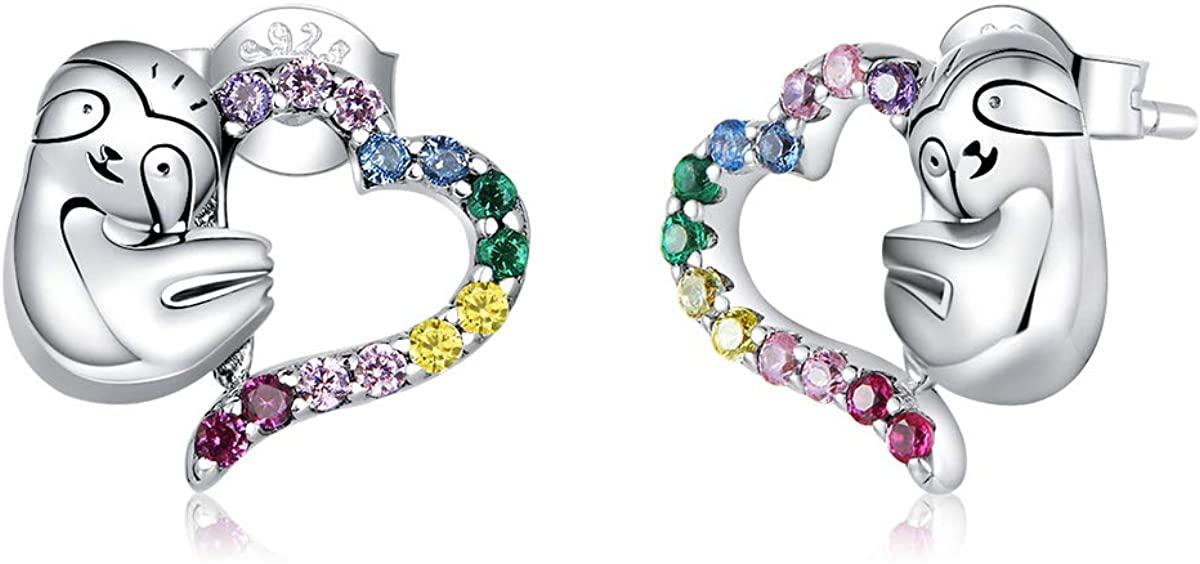 Presentski Sloth Stud Earrings 925 Sterling Silver Animal Ear Studs Colored CZ Heart Earrings Hypoallergenic Cute Earring Sloth Gifts for Teen Girls Women