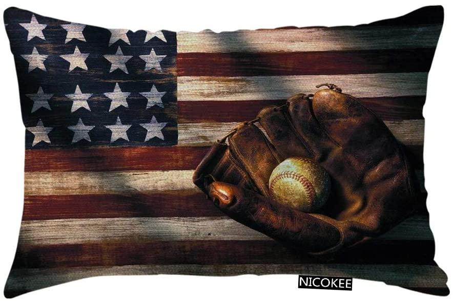 Nicokee Throw Pillow Cover Vintage American Flag Baseball Glove Decorative Pillow Case Home Decor 20x12 Inches Pillowcase