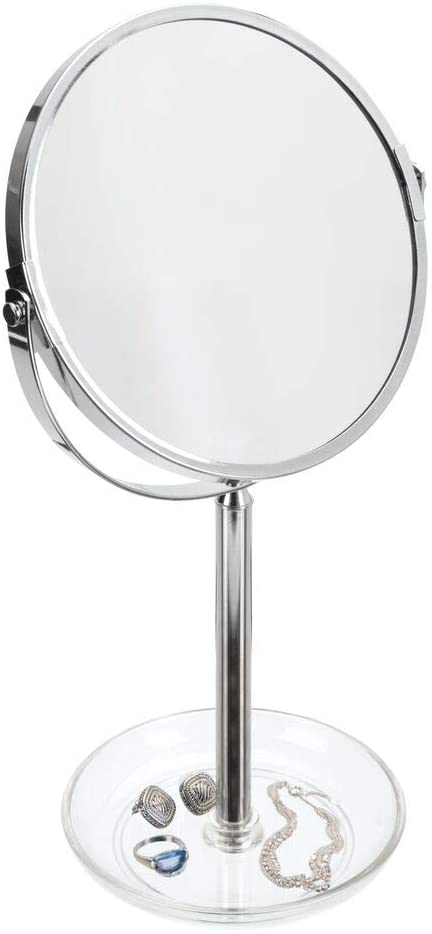 mDesign Freestanding Round Makeup and Cosmetic Vanity Mirror with Storage Dish for Bathroom Vanity, Counter, Dresser Top - Clear
