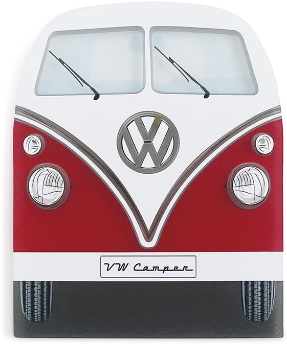 BRISA VW Collection - Volkswagen Samba Bus T1 Camper Van Ice Scraper, Windscreen Scraper, Ice and Snow Remover, Winter Car Accessories (Front/Red)