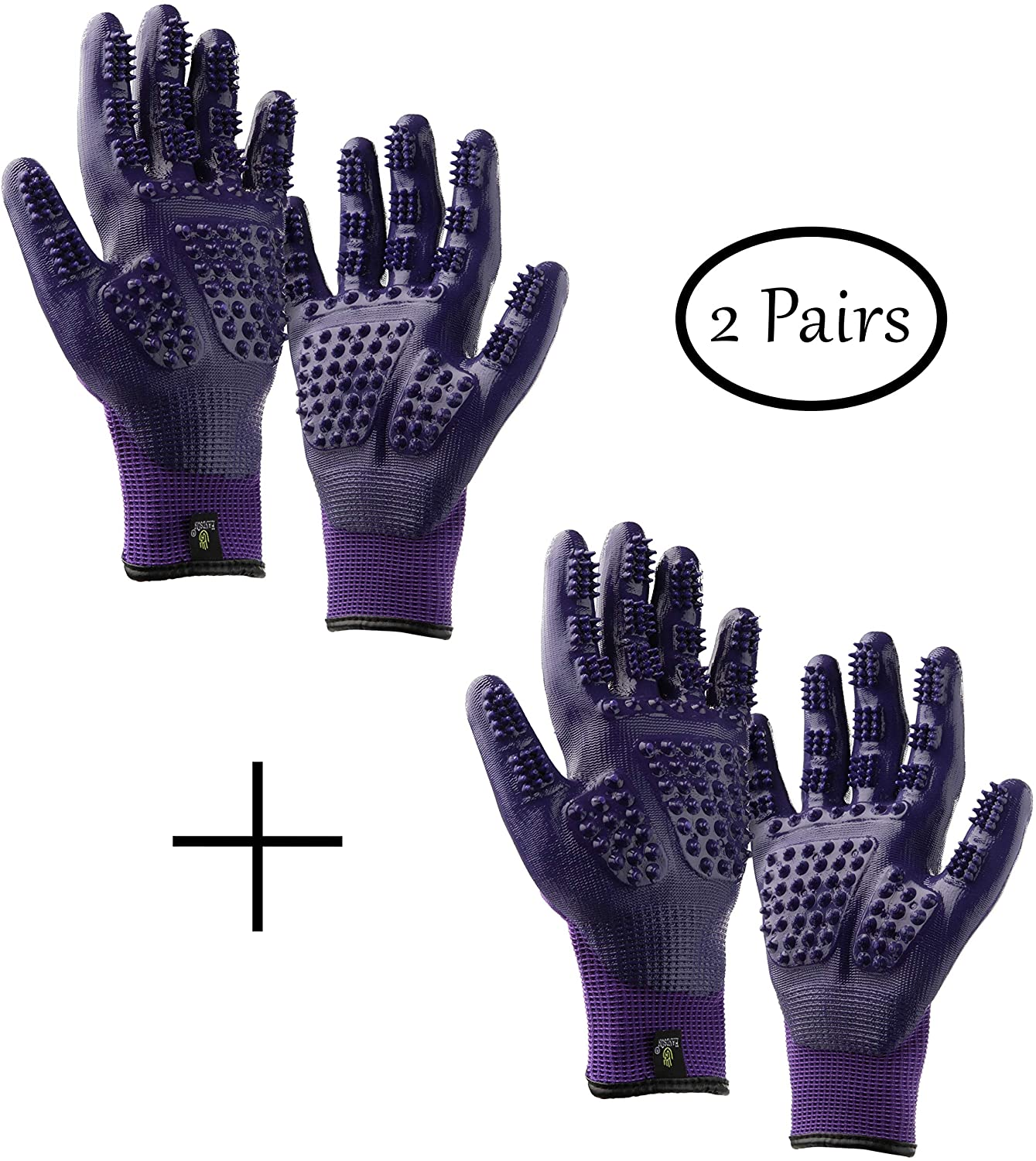 Handson Pet Grooming Gloves - #1 Ranked, Award Winning Shedding, Bathing, Hair Remover Gloves for Cats, Dogs, and Horses (2 Pairs, Same Color)