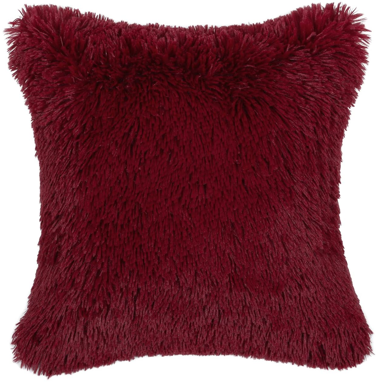 CaliTime Super Soft Throw Pillow Cover Case for Couch Sofa Bed Solid Plush Faux Fur 18 X 18 Inches Burgundy