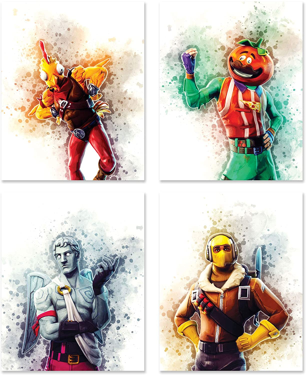 Battle Royale Video Game Decor | Set of Four (8 inches x 10 inches) Posters and Prints | Wall Art Gifts | Tomato, Chicken, Ranger, Raptor | Fort | Set 5