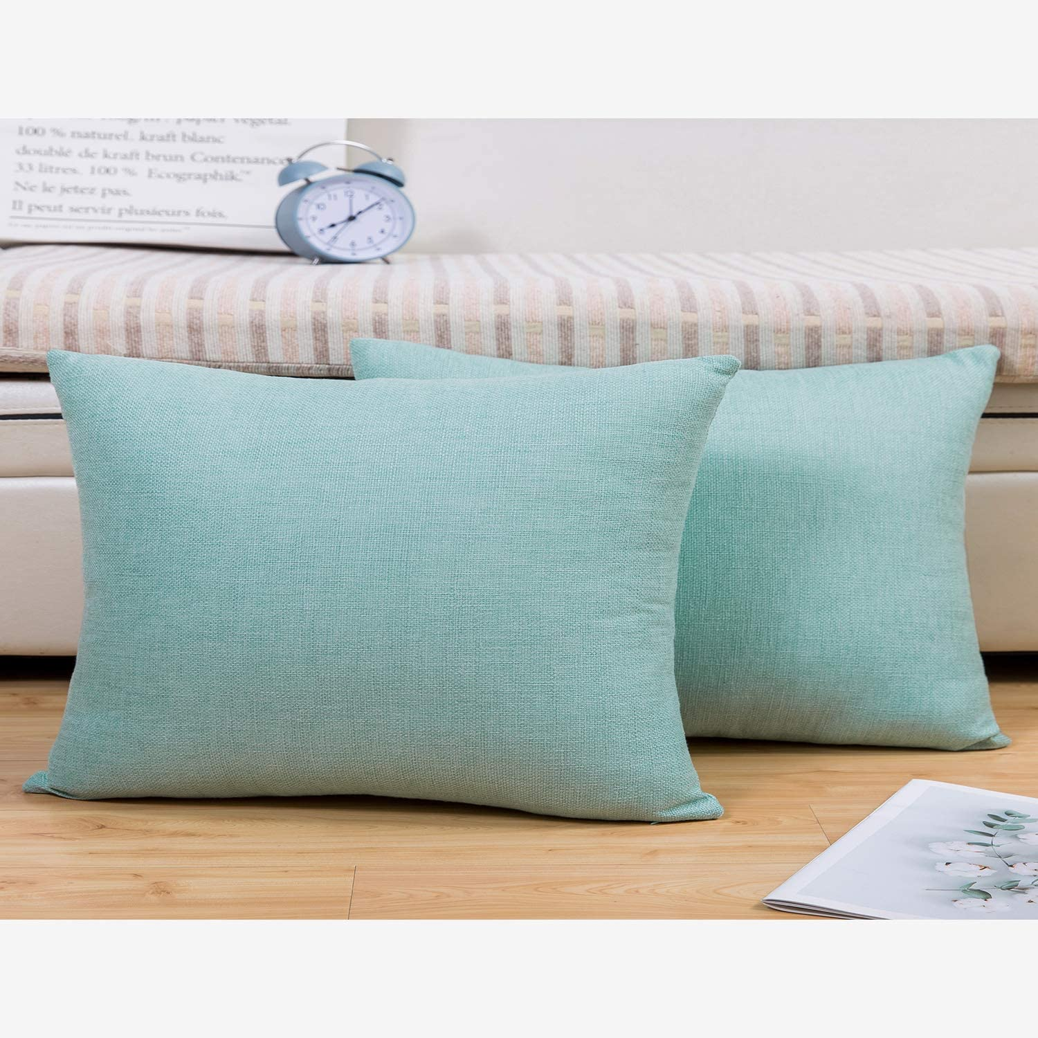 Jepeak Comfy Throw Pillow Covers Cushion Cases Pack of 2 Cotton Linen Farmhouse Modern Decorative Solid Rectangular Pillow Cases for Couch Sofa Bed (Light Teal, 16 x 24 Inches)