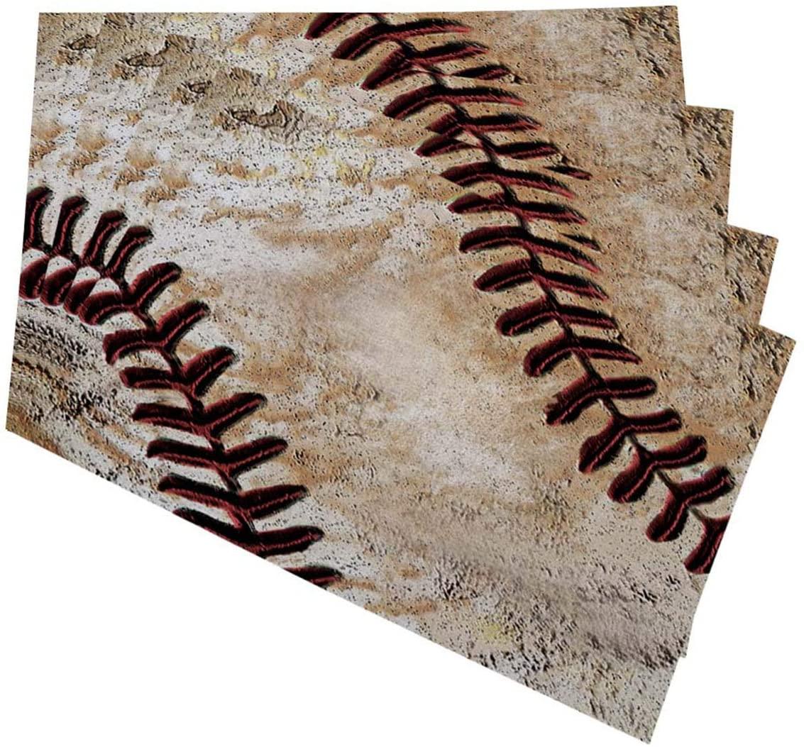 Mugod Placemats Vintage Baseball Decorative Heat Resistant Non-Slip Washable Place Mats for Kitchen Table Mats Set of 4 12