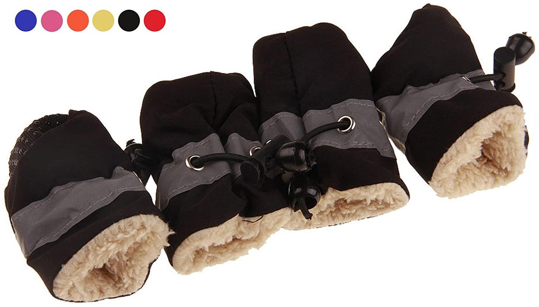 GabeFish Water-Resistance Anti Slip Dog Socks Shoes Adjustable Drawstring Boot Paw Protectors for Small Medium Pets Cats