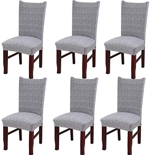 Super Fit Stretch Removable Washable Short Dining Chair Covers Seat Slipcover for Dinning Room (6, R)