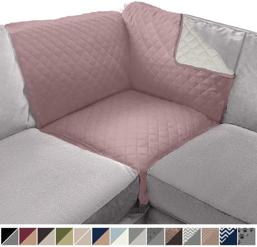 Sofa Shield Original Patent Pending Reversible Sofa Corner Sectional Protector, 30x30 Inch, Washable Furniture Protector, 2 Inch Strap, Sectional Corner Slip Cover for Pets, Dogs, Dusty Rose Linen