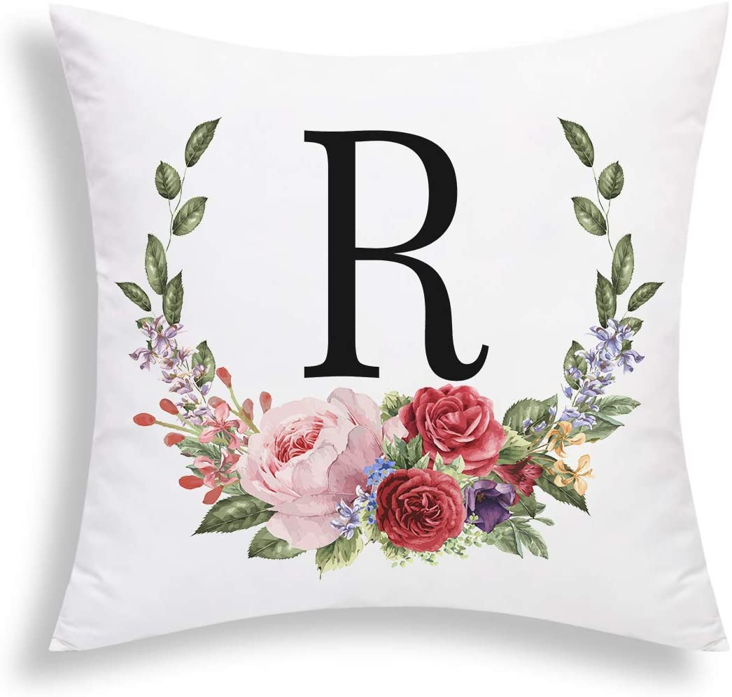Yastouay Pillow Covers English Alphabet R Throw Pillow Cover Garland Throw Pillow Case Modern Cushion Cover for Bed