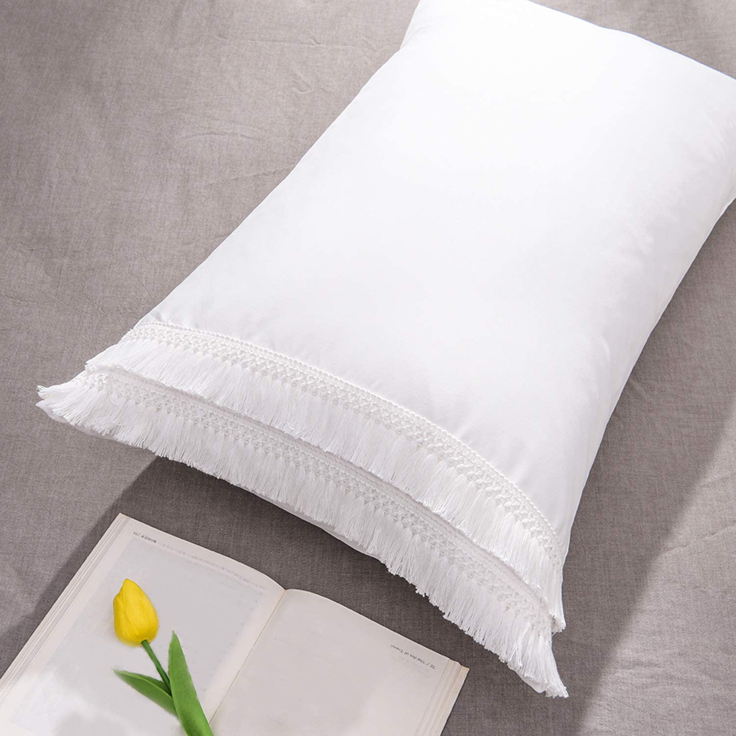 CAWANFLY Tassel Pillow Sham Set of 2 Decorative White Pillowcases Standard Size Bedding Pillow Covers with Envelope Closure (20x26inches)