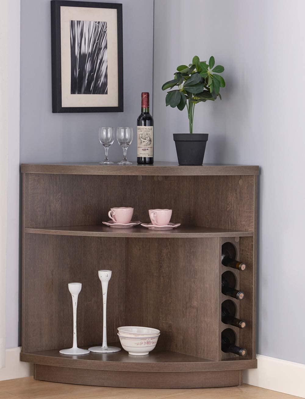 Amadeus Mid Century Retro Console Corner Cabinet for Wine Storage (Walnut Oak Color)