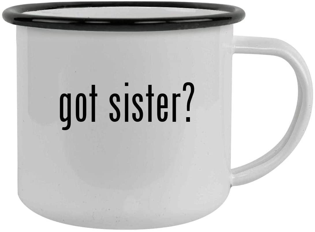 got sister? - Sturdy 12oz Stainless Steel Camping Mug, Black