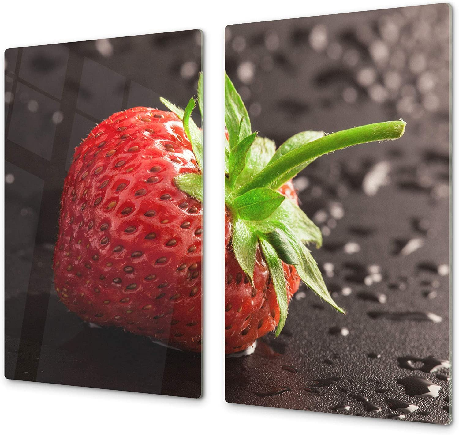 """KITCHEN BOARD & Induction Cooktop Cover – Glass Pastry Board; MEASURES: SINGLE: 23,62"""" x 20,47""""; DOUBLE: 2x 11,81"""" x 20,47""""; D07 Fruits and vegetables: Strawberry 19"""