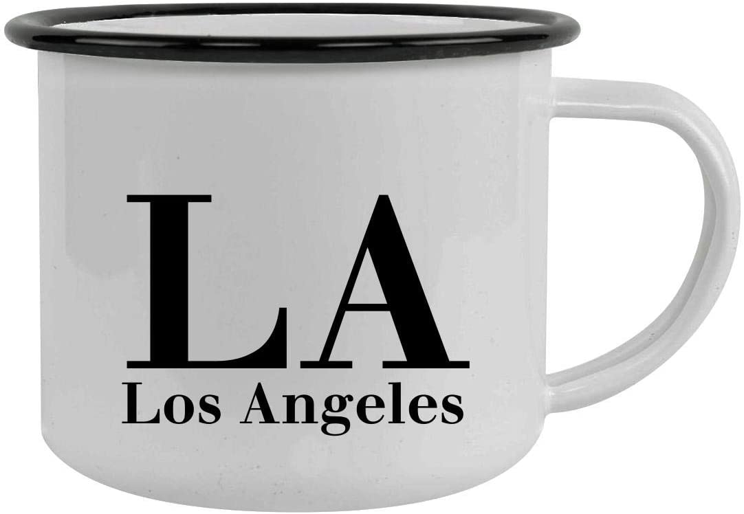 LA Los Angeles - 12oz Stainless Steel Camping Mug, Black