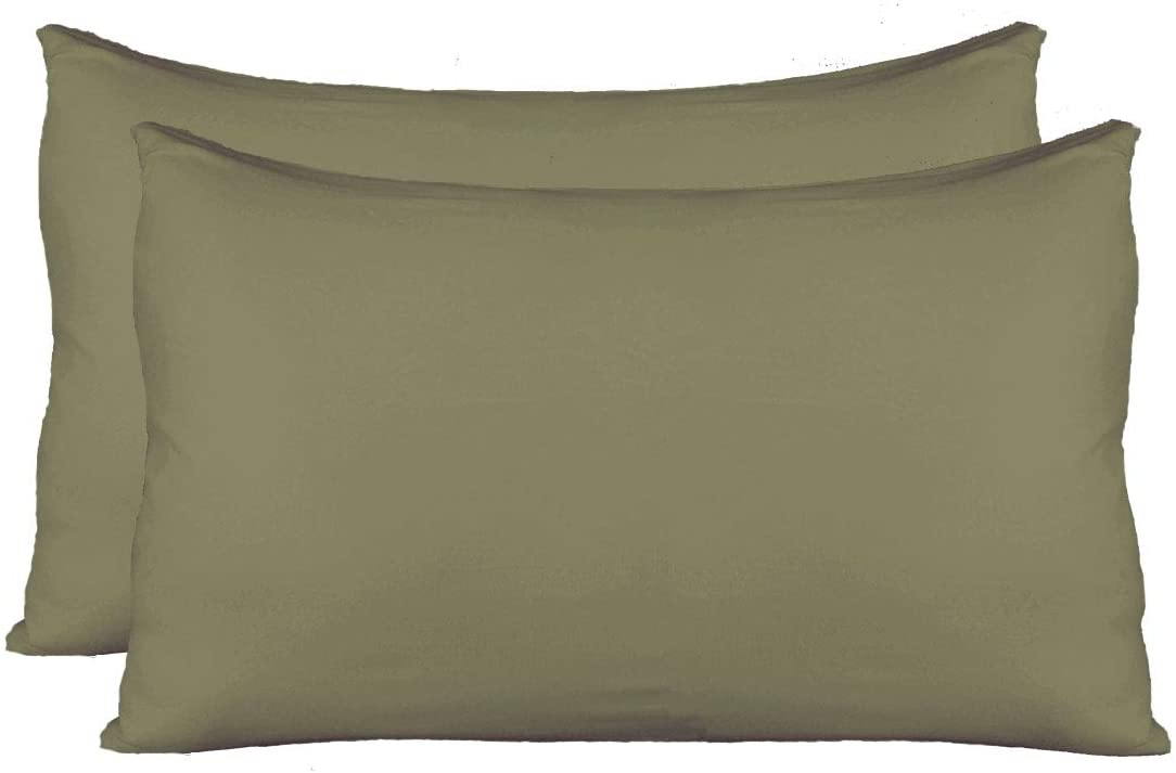 AUCOCU Stretch Jersey Pillow Cases with Invisible Zipper, Universal Size fit All King, Queen and Standard Size Pillows, Modal Rayon Spandex 180 Gram, Soft Than Cotton, Pack of 2, Sage