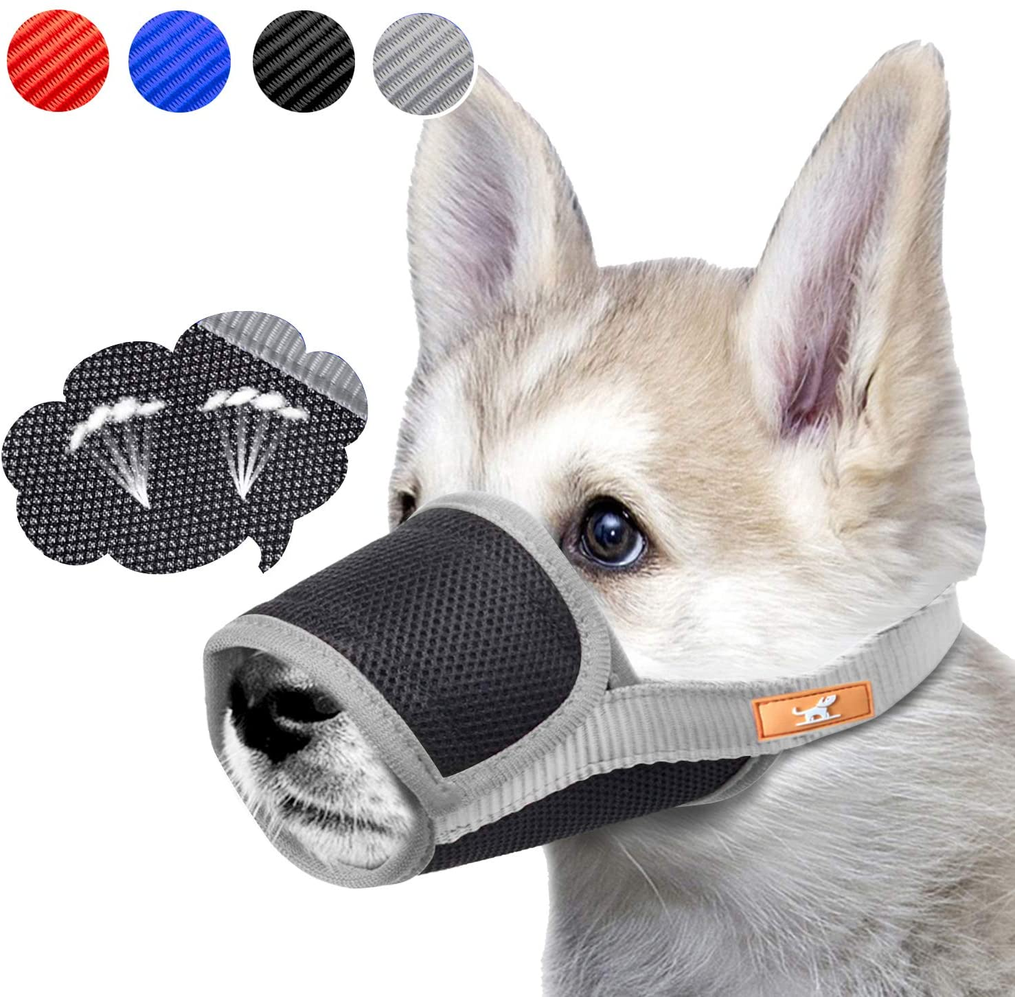 Dog Muzzle Breathable Mesh Mask Stop Biting, Barking and Chewing, Cover with Hook & Loop for Dogs, Adjustable