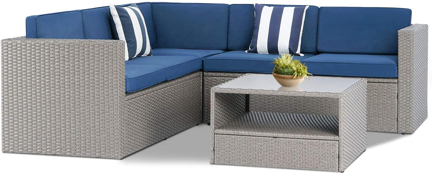 Incbruce 4 Piece (5 Seats) Outdoor Patio Furniture Sectional Set, All-Weather Warm Grey Rattan Patio Sofa Set with Modern Glass Coffee Table, Washable Pillows and Thick Cushions (Blue)