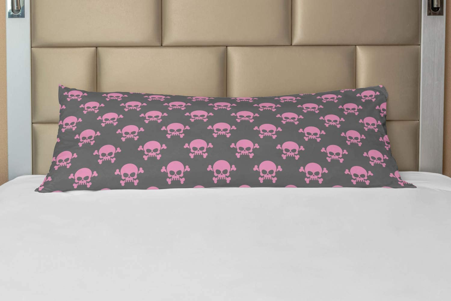 Lunarable Skull Body Pillow Case Cover with Zipper, Vivid Pirate on Pale Background Head of a Skeleton and Bones Halloween Themed, Decorative Accent Long Pillowcase, 21 x 54, Pink Taupe