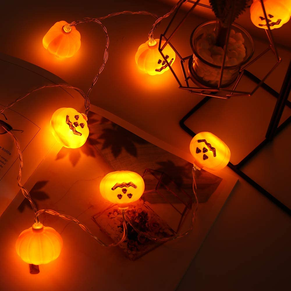BIOBEY Halloween String Light, Ghost and Pumpkin Shaped LED String Light, LED String Decoration Battery Powered Waterproof - 4.92ft Long, 10 LEDs