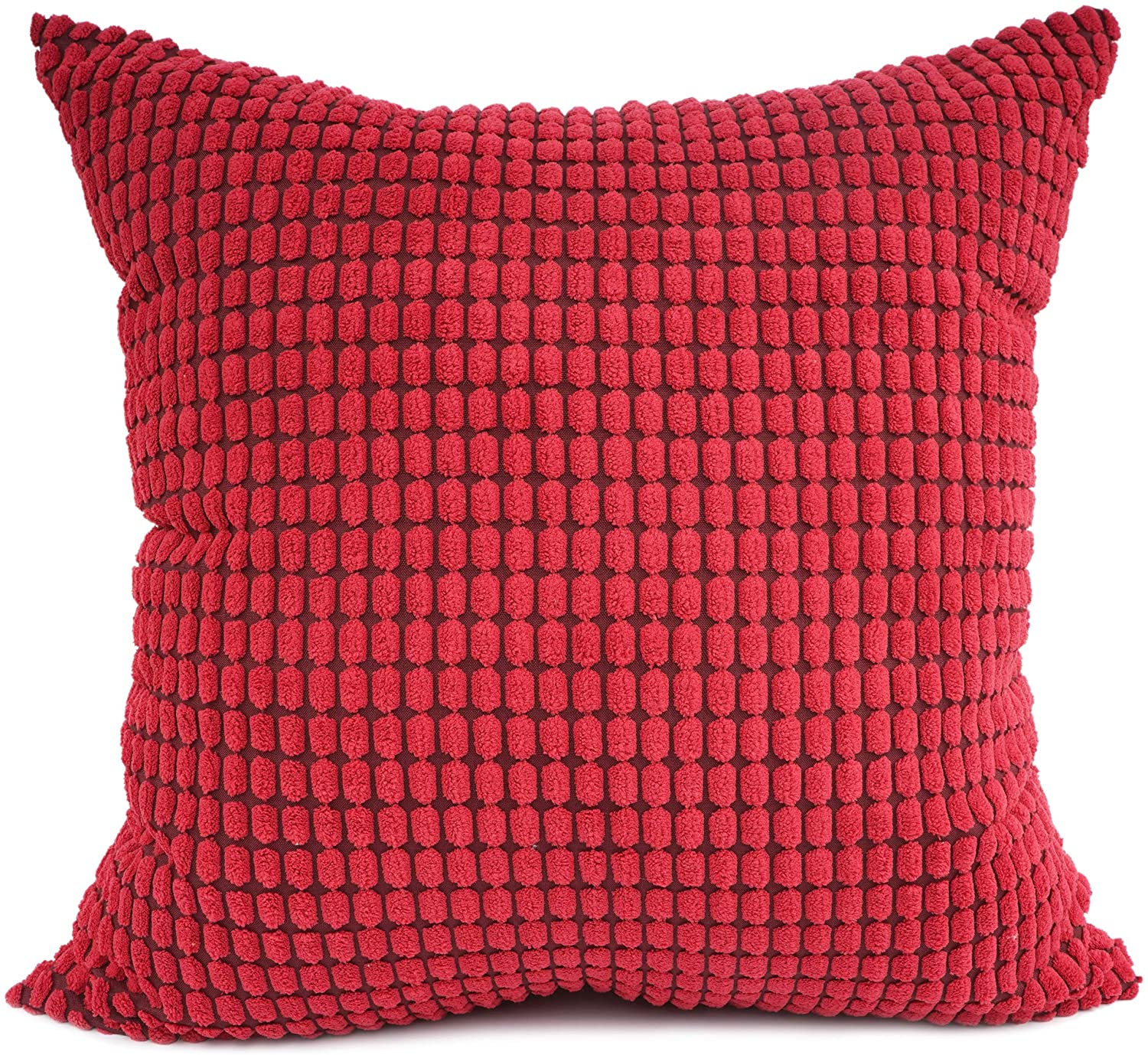 YOUR SMILE Cozy Bolster Pillow Cover Case for Couch Sofa Bed Comfortable Supersoft Corduroy Corn Striped Both Sides 24 X 24 Inches,Red