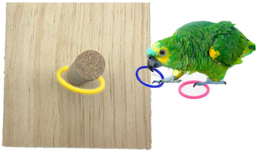 Litewood Parrot Intelligence Toy Wooden Bird Ring Toy Intelligence Training and Interactive Playing for Parrot Macaw African Greys Cockatoo