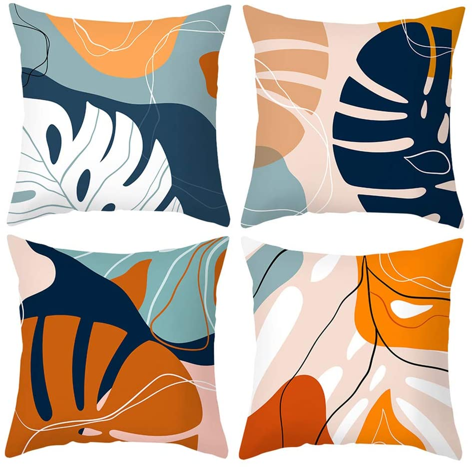 PTHAHNIL 4 Pack Throw Pillow Cover Set Modern Geometric Plants Leaf Design Square Pillowcases Home Decorations Car Sofa Couch Cushion Cover 18x18 (Style B)
